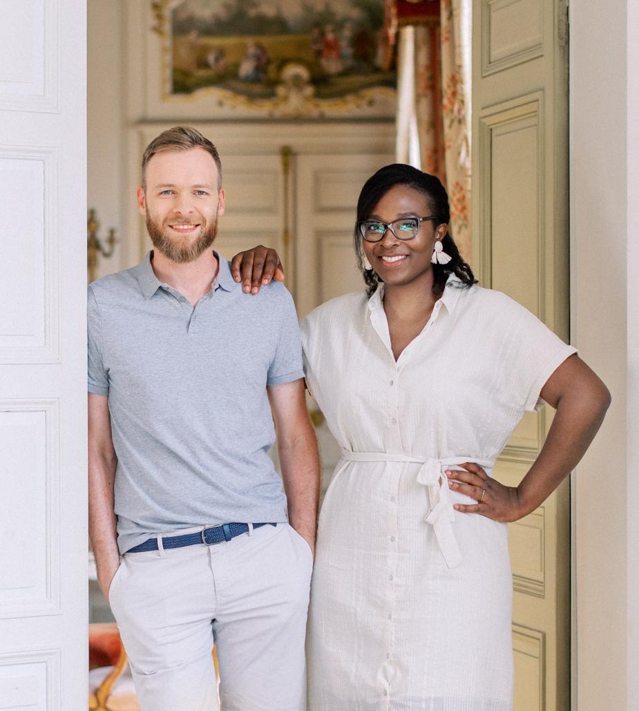 Defrance Productions couple portait in château de Varennes